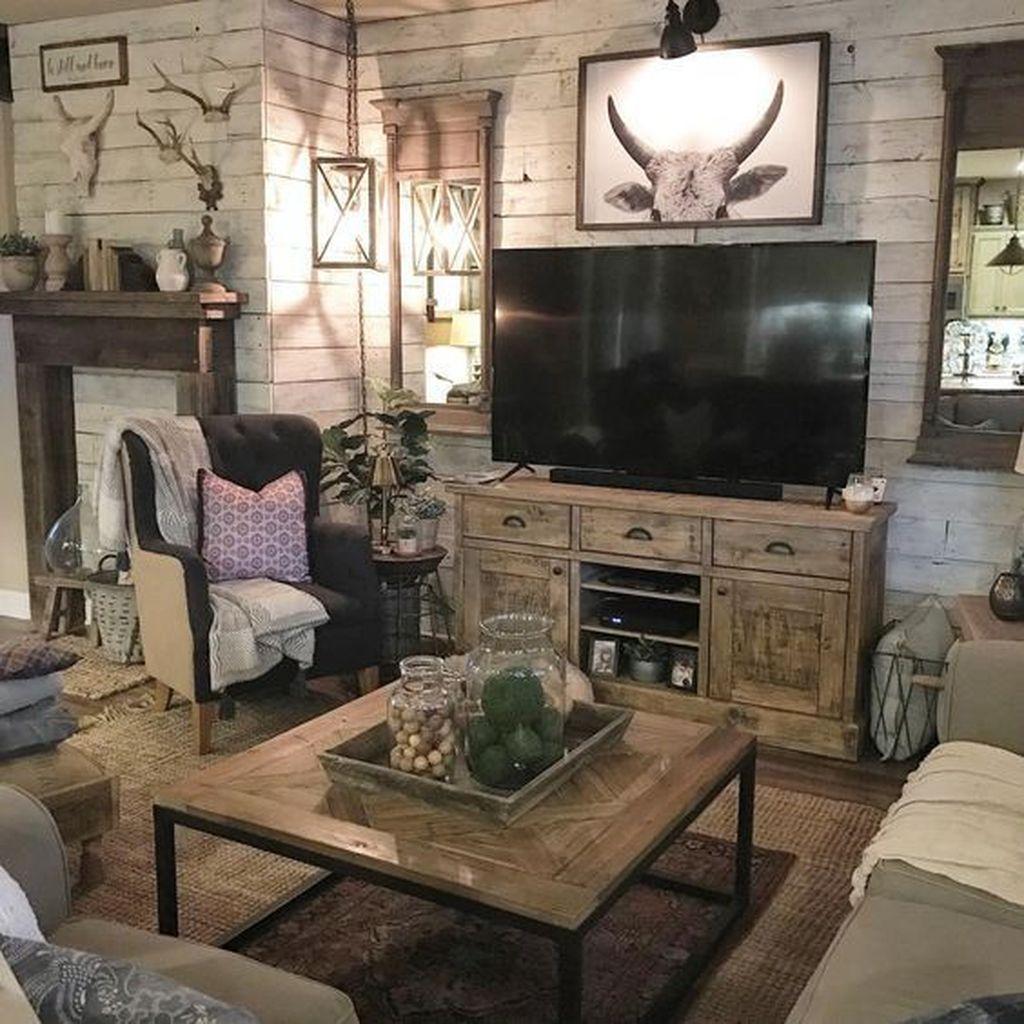 Incredible Rustic Farmhouse Living Room Design Ideas 31