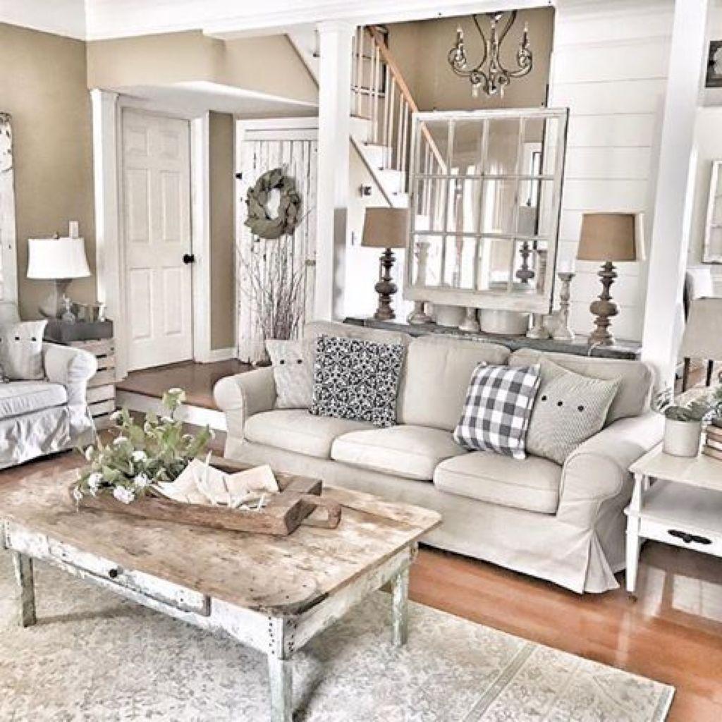 Incredible Rustic Farmhouse Living Room Design Ideas 32