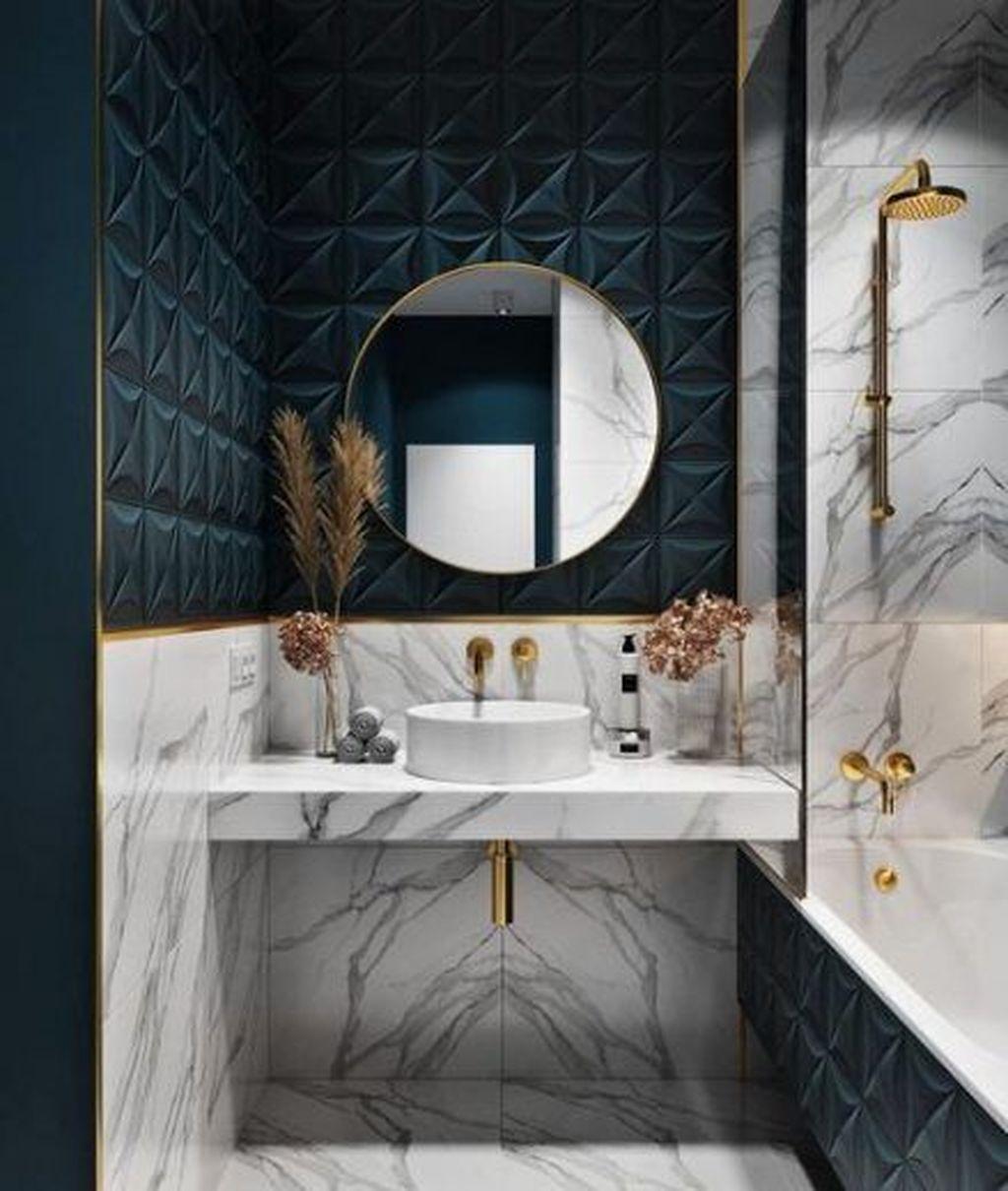 Inspiring Black Powder Room Design Ideas With Modern Style 01