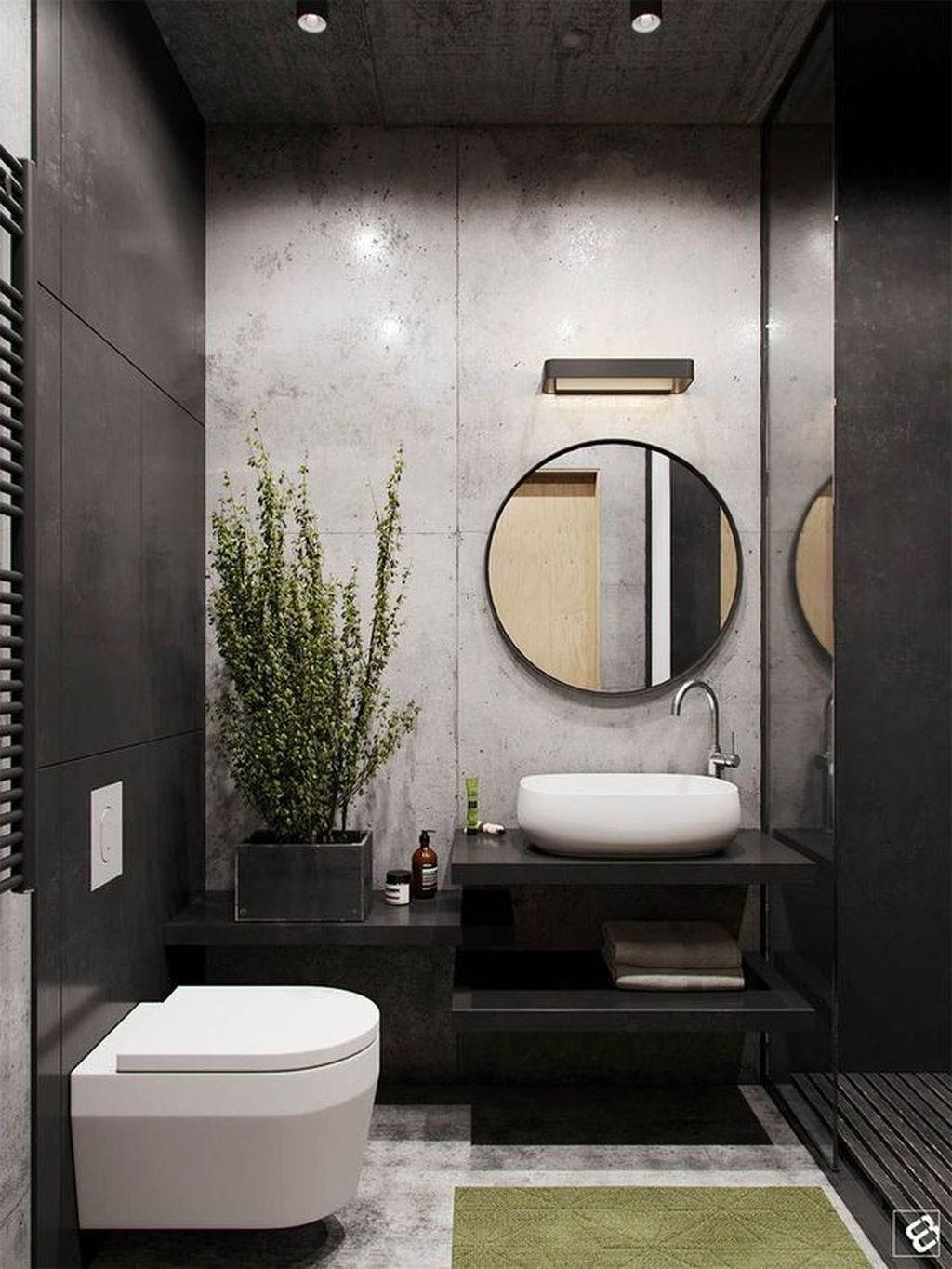 Inspiring Black Powder Room Design Ideas With Modern Style 05