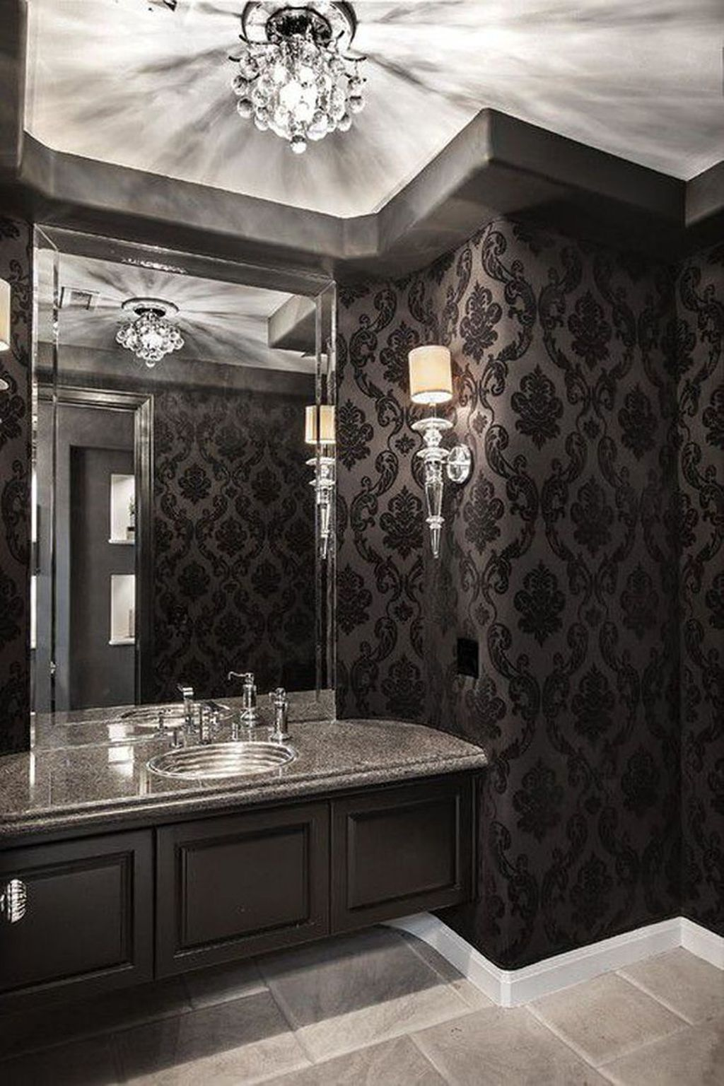 Inspiring Black Powder Room Design Ideas With Modern Style 18
