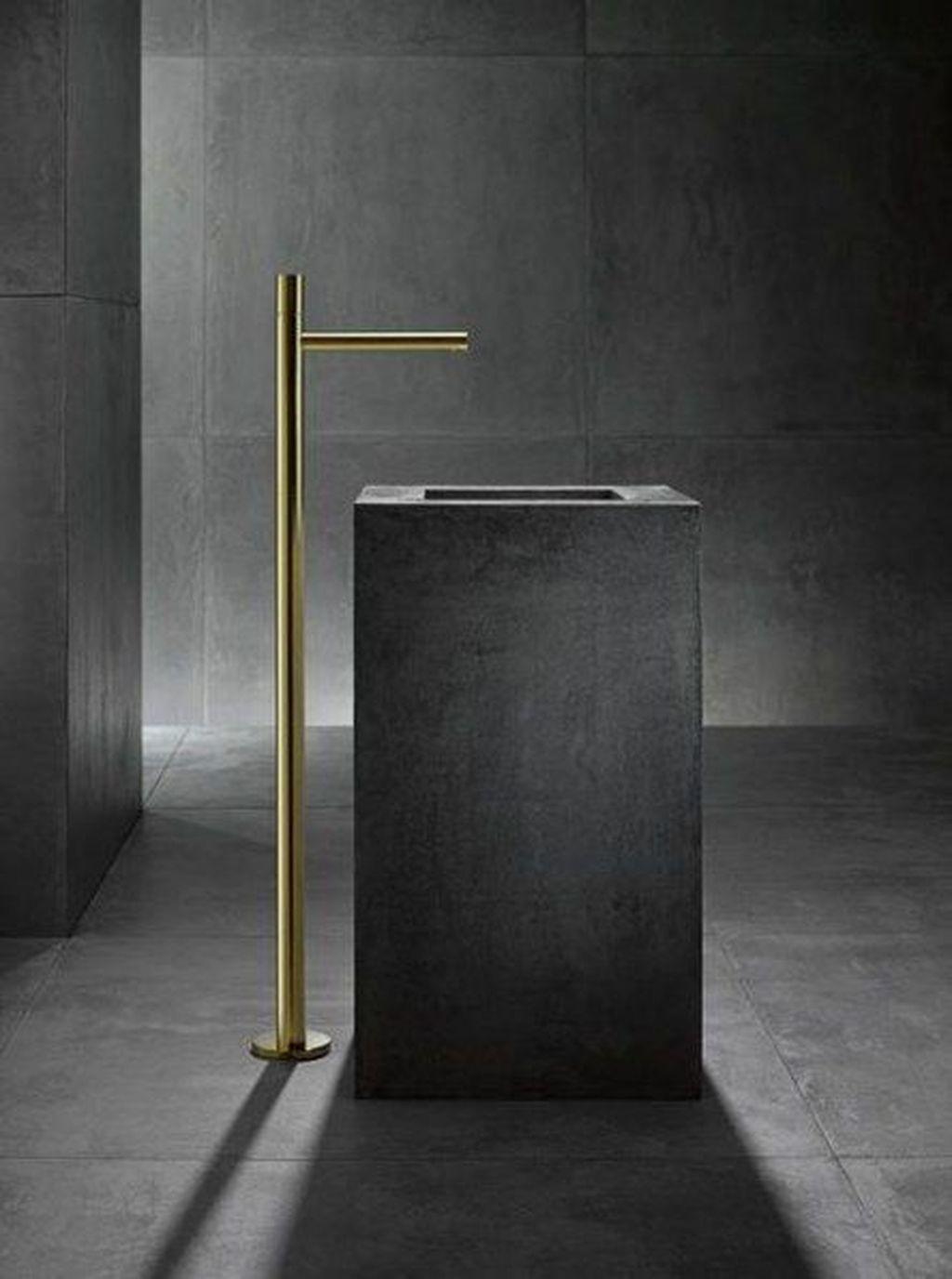 Inspiring Black Powder Room Design Ideas With Modern Style 26