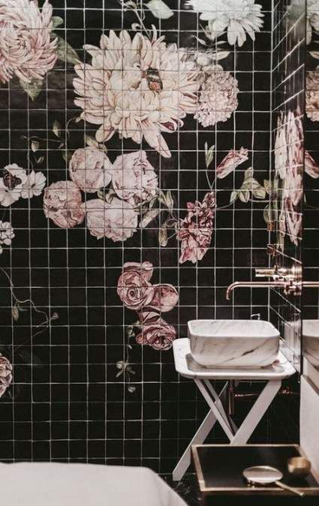 Inspiring Black Powder Room Design Ideas With Modern Style 30