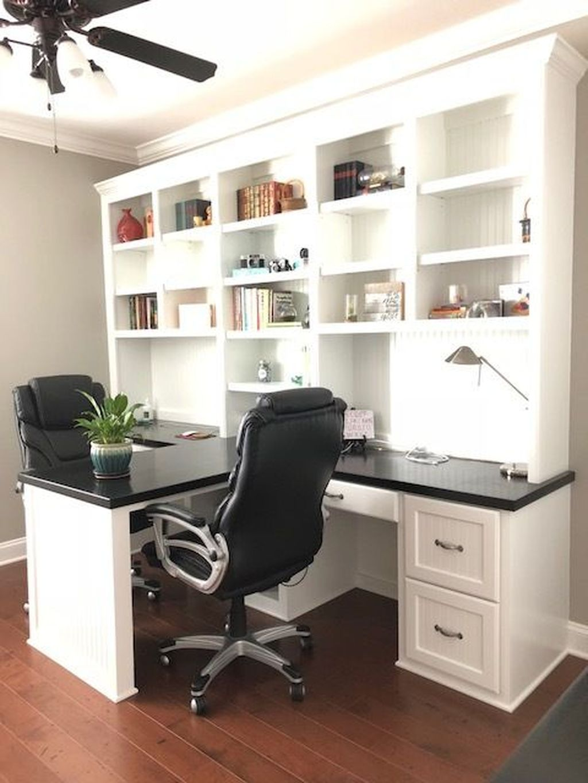 Inspiring Double Desk Home Office Design Ideas 04