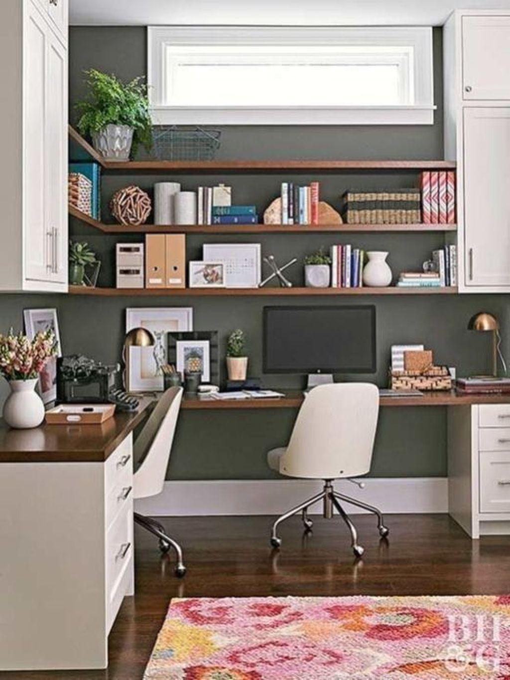 Inspiring Double Desk Home Office Design Ideas 05