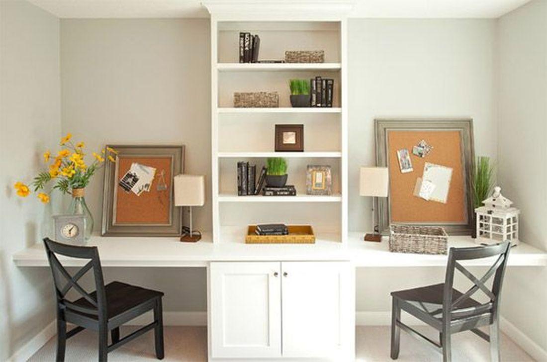 Inspiring Double Desk Home Office Design Ideas 06
