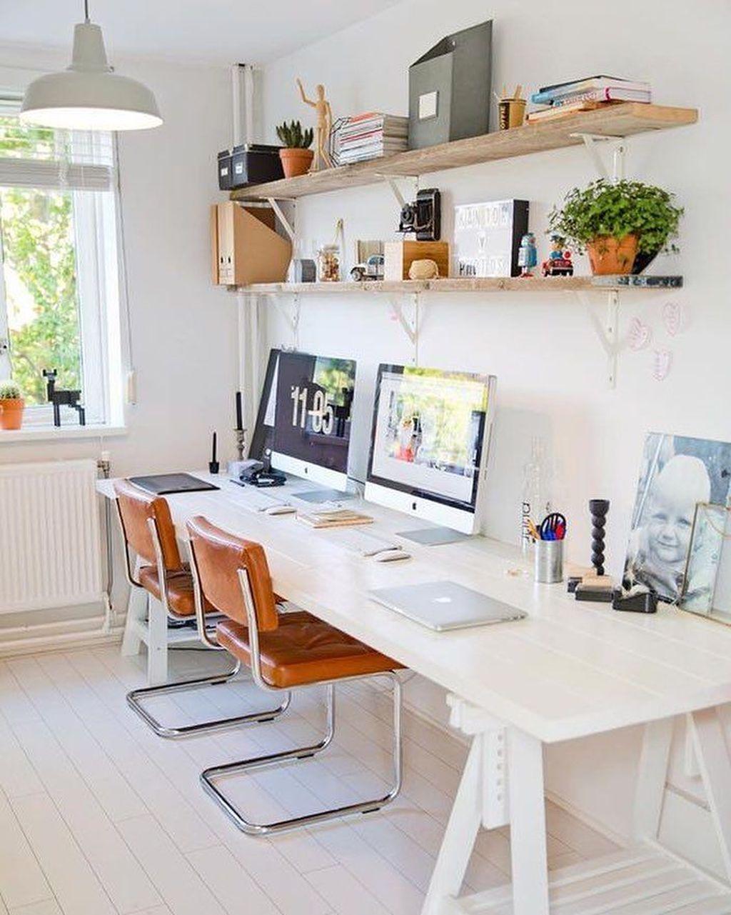 Inspiring Double Desk Home Office Design Ideas 11