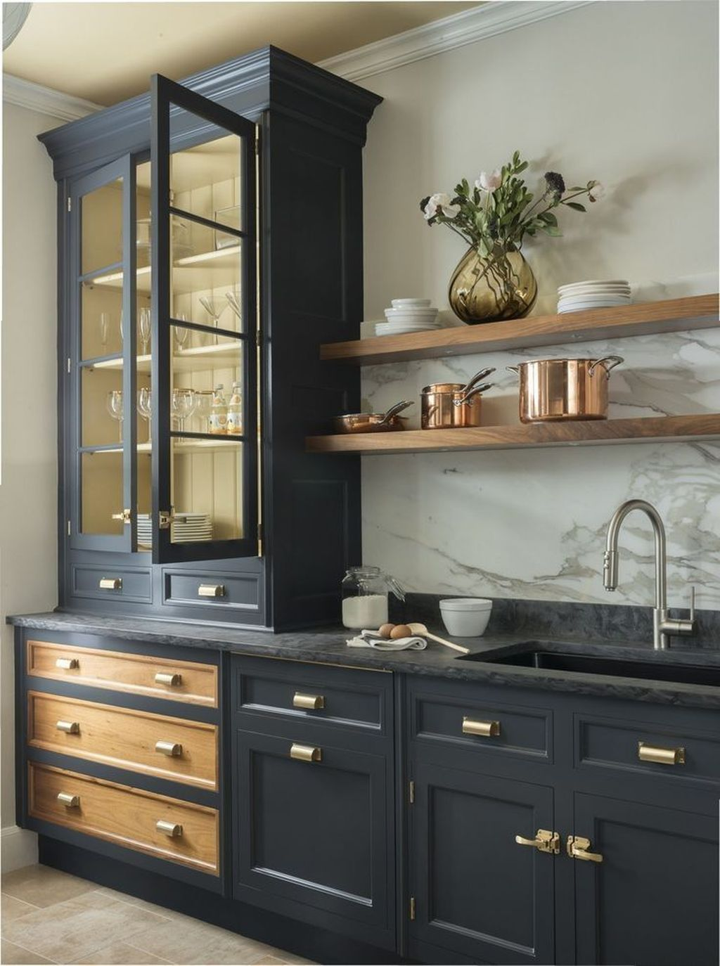 Stunning Navy Kitchen Cabinets Ideas You Have Must See 29