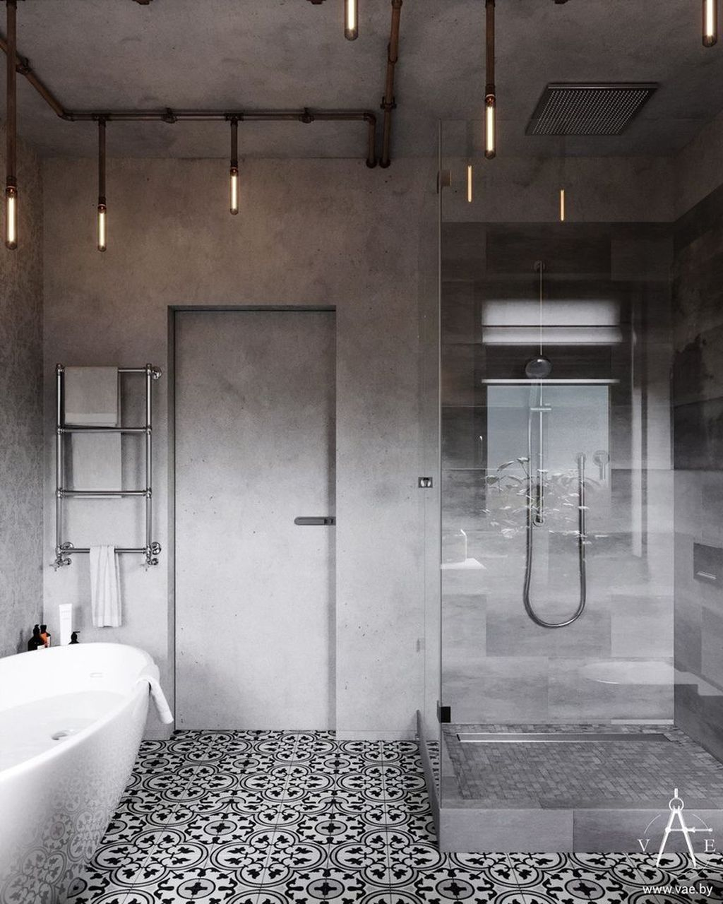 Stunning Industrial Bathroom Design Ideas 27