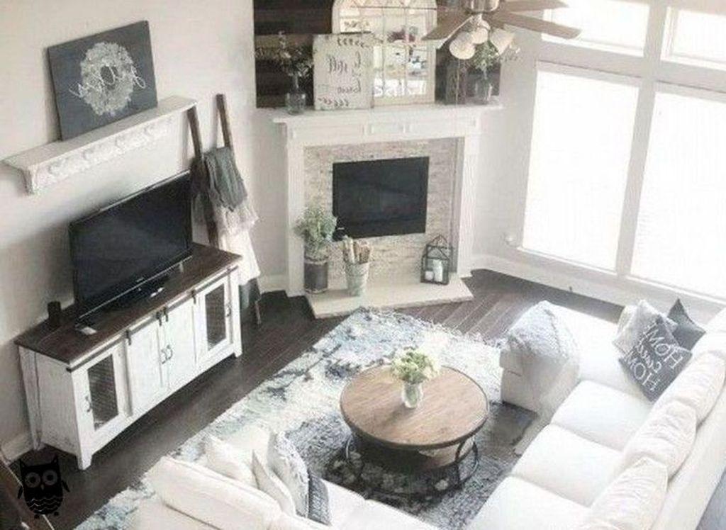 Stunning Corner Fireplace Design For Living Room 13