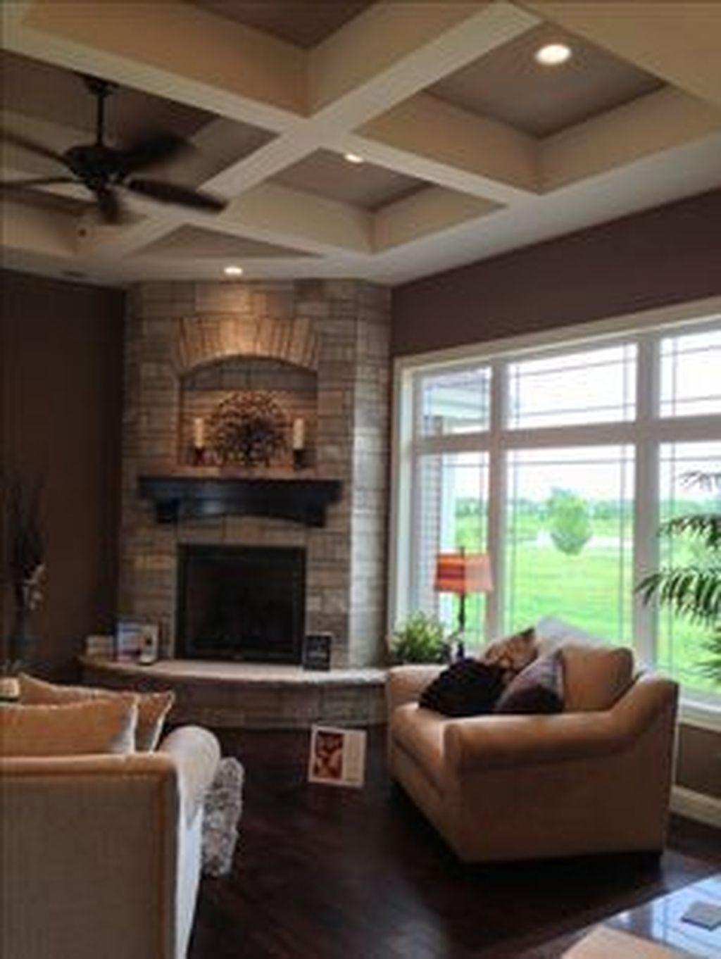 Stunning Corner Fireplace Design For Living Room 14