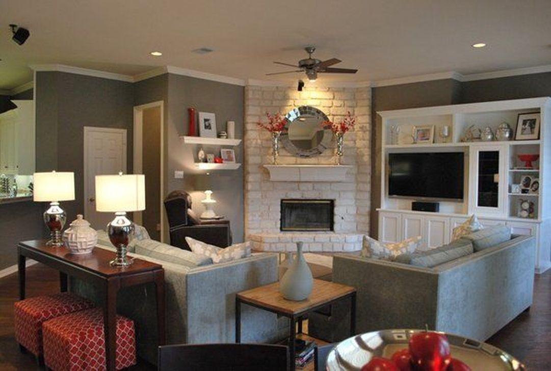 Stunning Corner Fireplace Design For Living Room 19