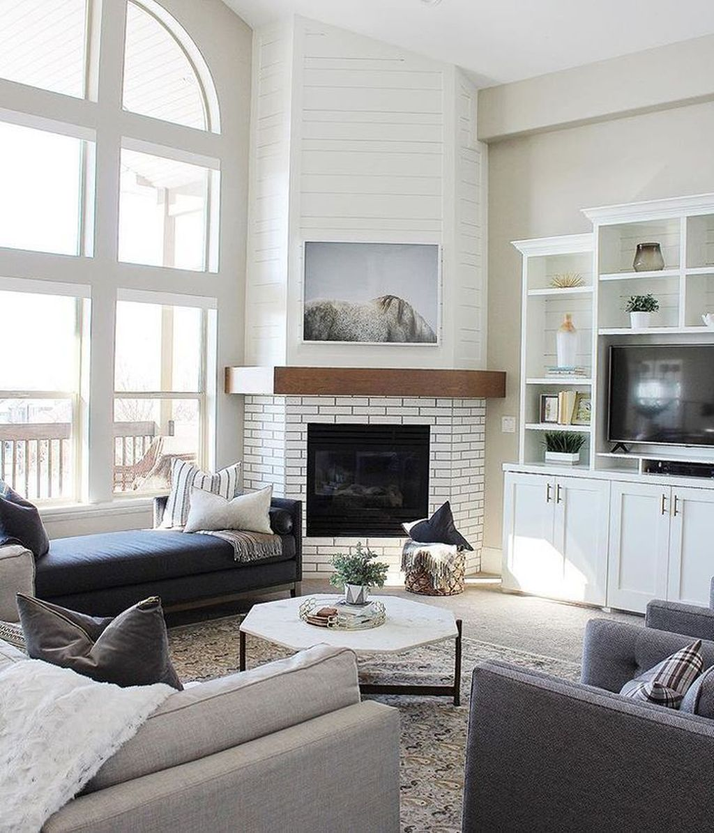 Stunning Corner Fireplace Design For Living Room 20