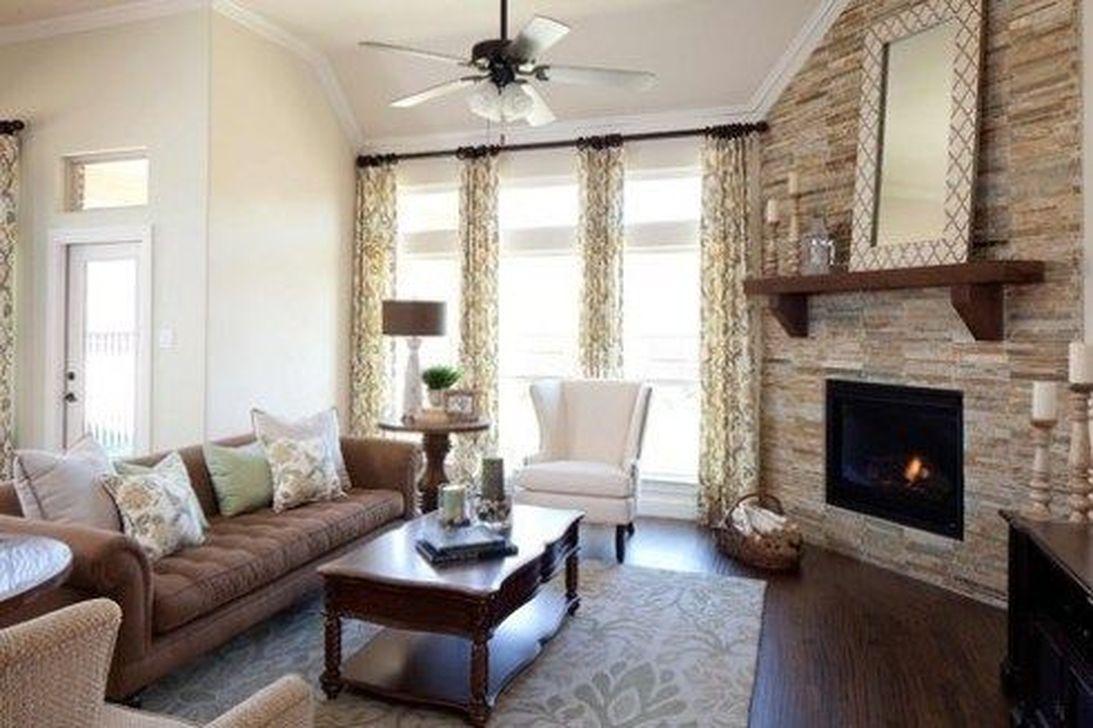 Stunning Corner Fireplace Design For Living Room 24