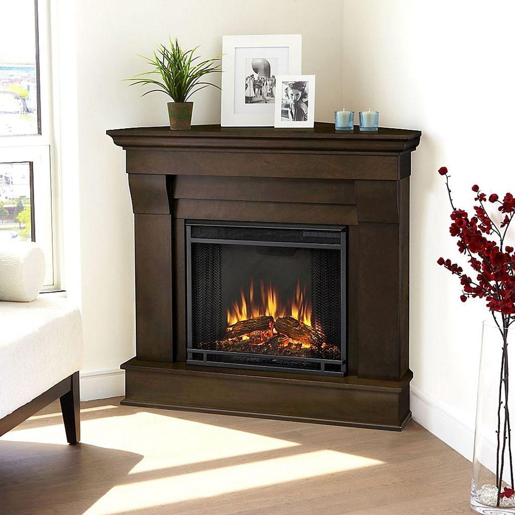Stunning Corner Fireplace Design For Living Room 26