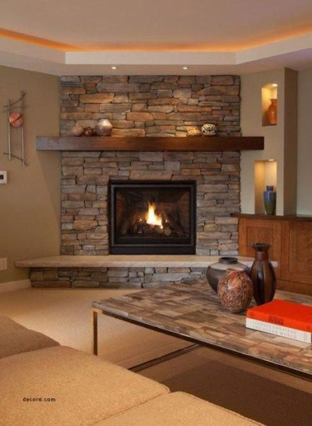 Stunning Corner Fireplace Design For Living Room 28