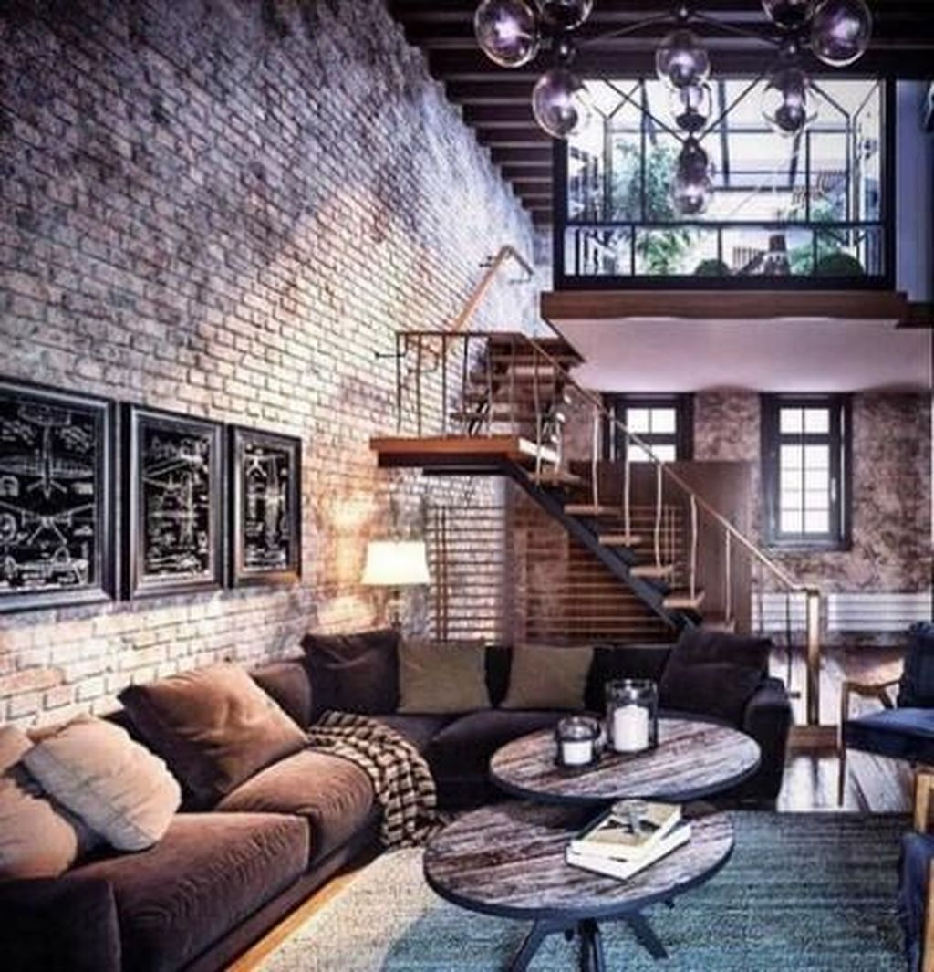 Gorgeous Industrial Living Room Design And Decoration Ideas 11