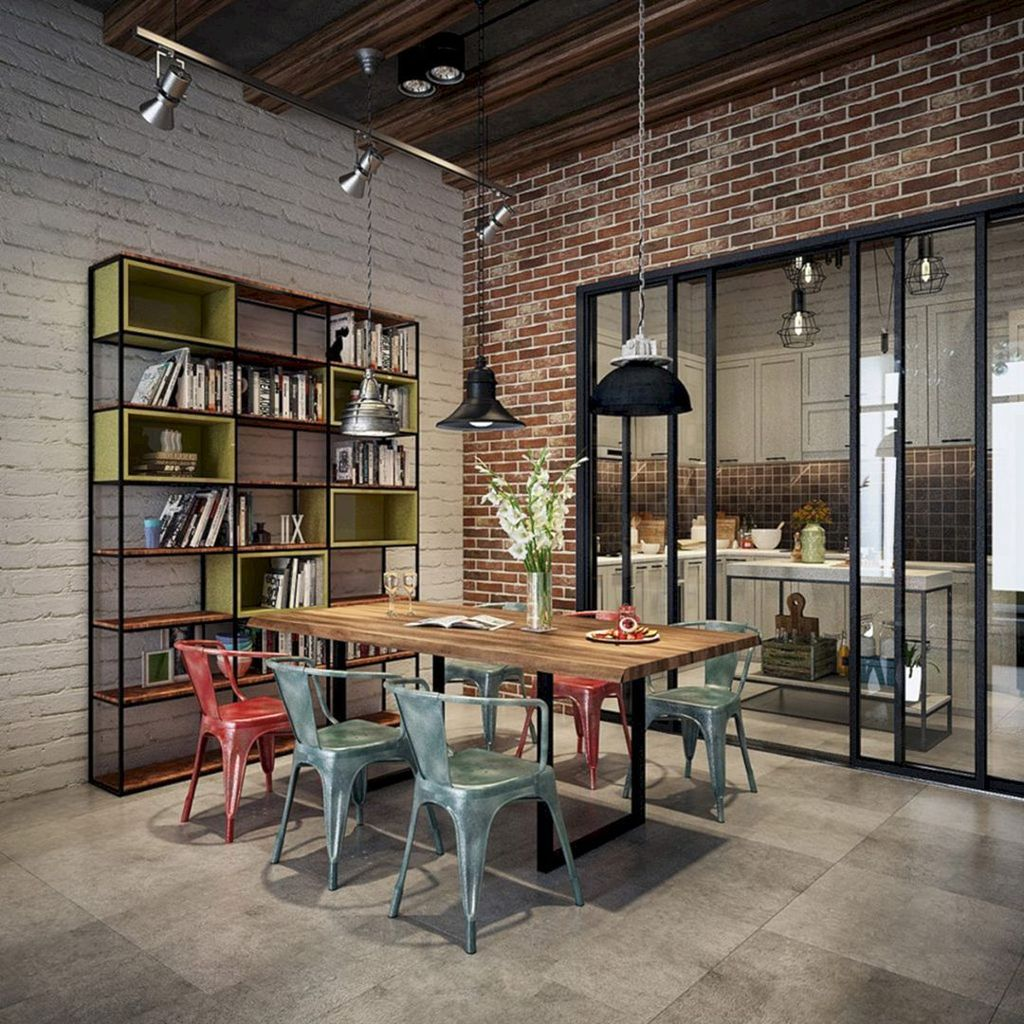 Gorgeous Industrial Living Room Design And Decoration Ideas 13