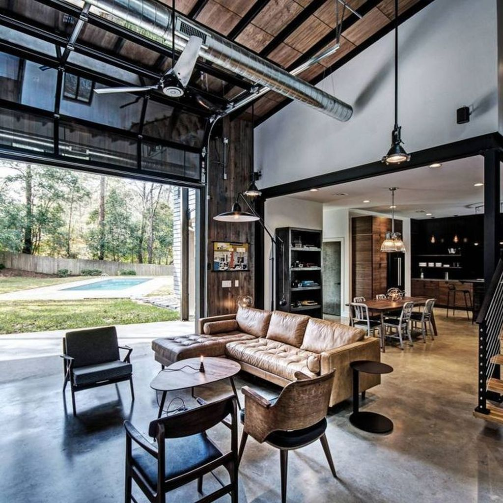 Gorgeous Industrial Living Room Design And Decoration Ideas 15