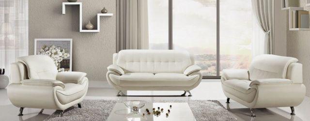 White Leather Living Room Set