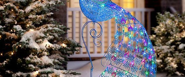 Christmas Peacock Outdoor Decoration