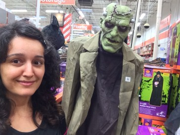 Animated green Frankenstein at the Home Depot