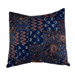 Block printed and hand embroided patchwork cotton cushion with feather filling. Found here at Mahala an independent homewares and accessories