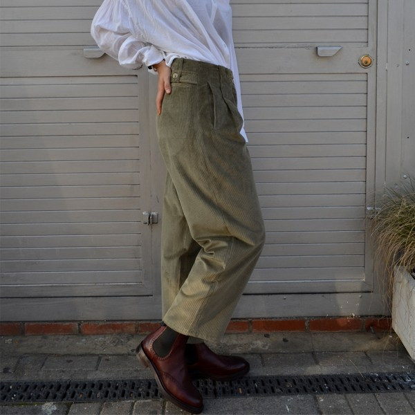 side view Khaki Jumbo Cord Trousers will add some much needed warmth and texture to your wardrobe. Made in the united kingdom at Mahala is an independent homewares and accessories