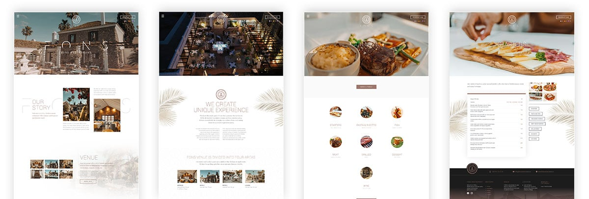 restaurant website pages design