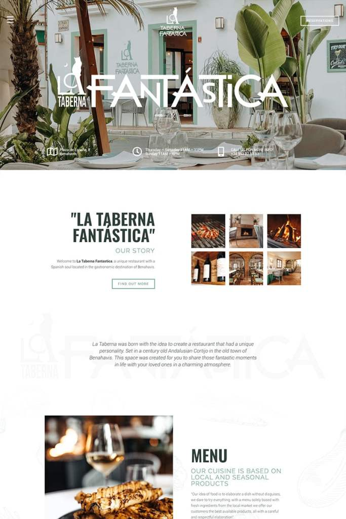 Restaurant web design template Marbella