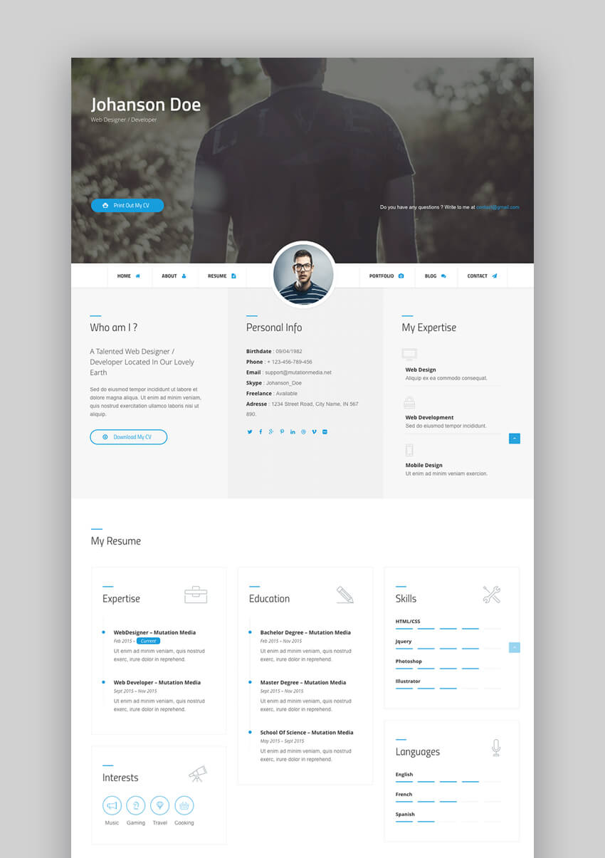 Difference - Customizable HTML Resume Website Template
