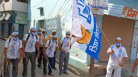 जसपुर में आप ने चलाया 'घर-घर दुकान-दुकान सैनिटाइजर' अभियान