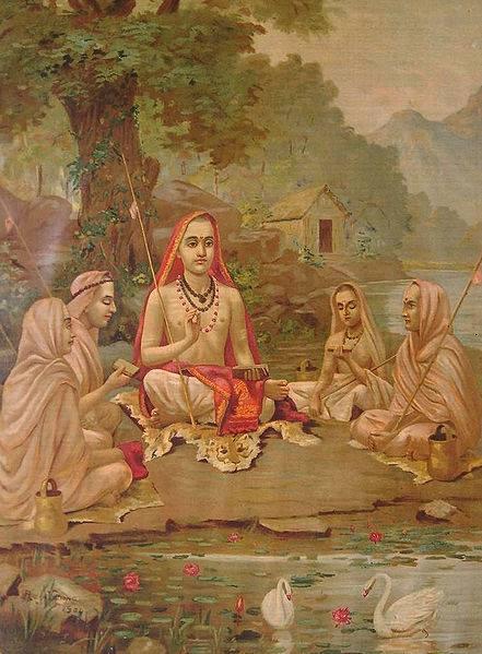 Adi Shankara and disciples Ravi Verma