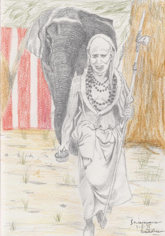 MahaPeriava_elephant_drawing_BN