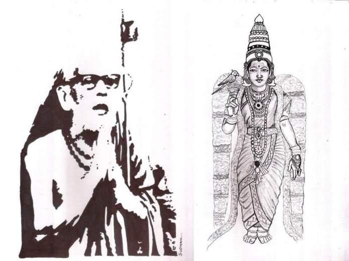 Periyava_praying_meenakshi_sudhan