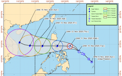 Parts of Bicol, Calabarzon, E. Visayas now under Signal No. 1