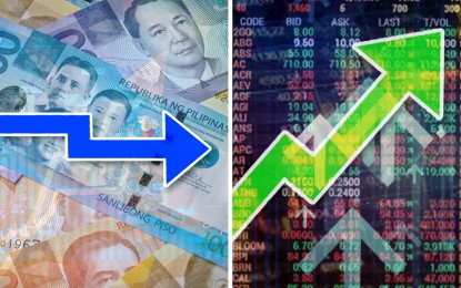 Local shares up; peso ends flat