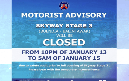 Skyway Stage 3 temporarily closed for safety audit: DPWH