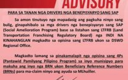 DSWD extends release of SAP aid to PUJ drivers until Jan. 31