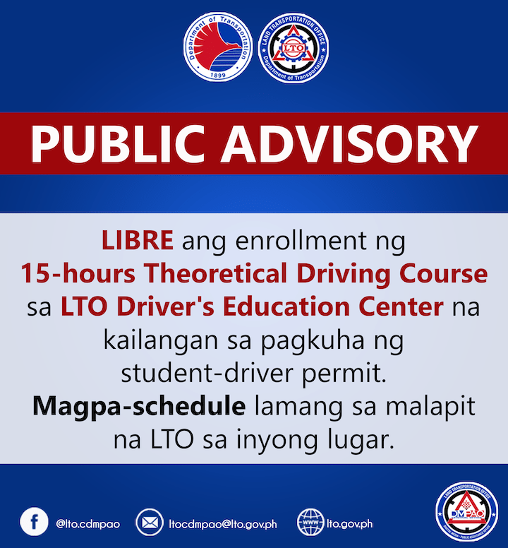 LTO provides a free 15-hour theoretical driving course