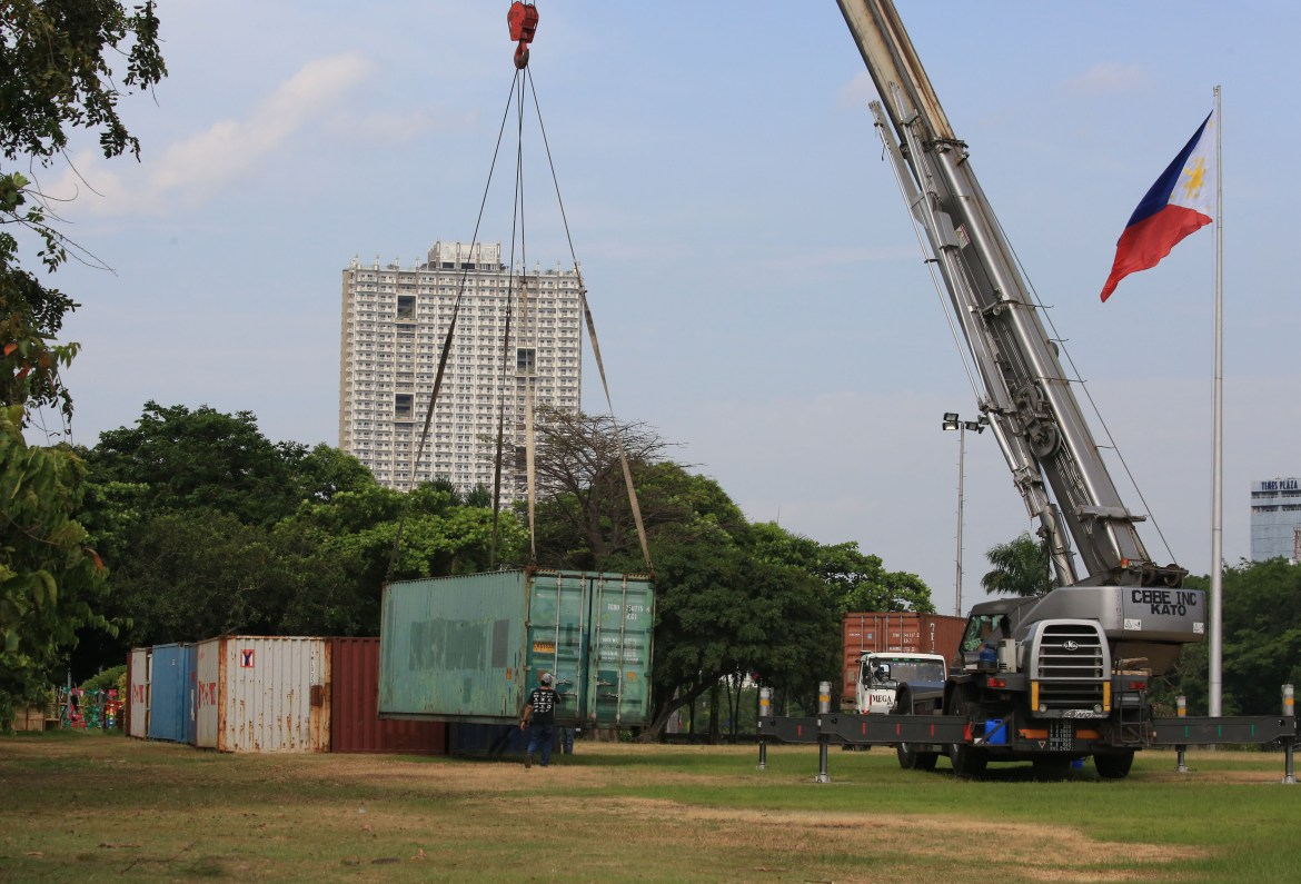 Manila builds instant medical facilities for Covid patients from container vans