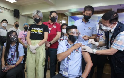 5 Manila university front-liners vaccinated in special CHED event