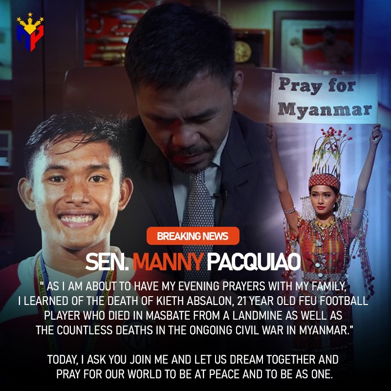#AsianHero Manny Pacquiao prays for Kieth Absalon, Myanmar and World Peace