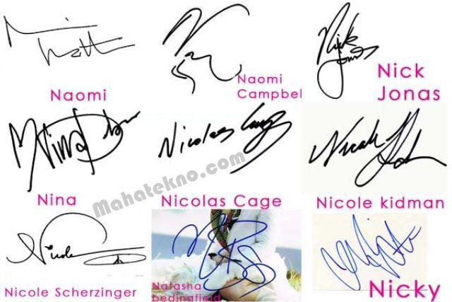 conroh tanda tangan huruf n