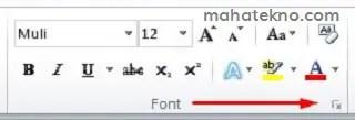 membuka kotak dialog font