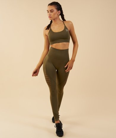 Legging SEAMLESS ENERGY HIGH WAISTED CROPPED LEGGINGS Khaki - 50€