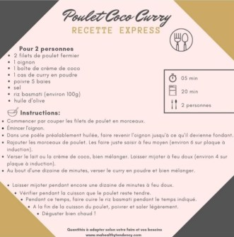 recette express poulet coco curry mahealthytendency