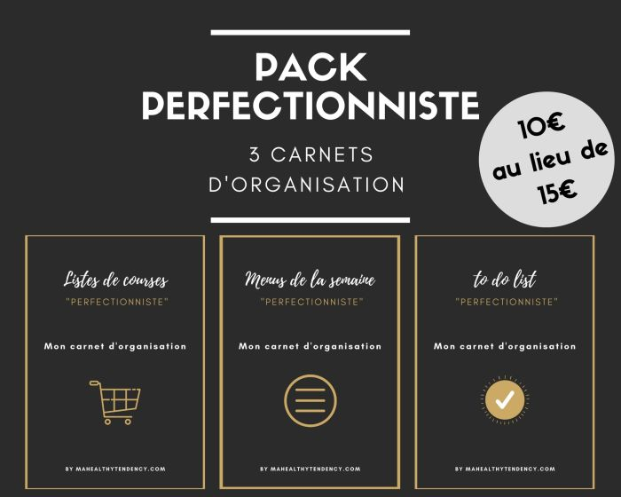 Carnets d'organisation - Perfectionniste - Mahealthytendency