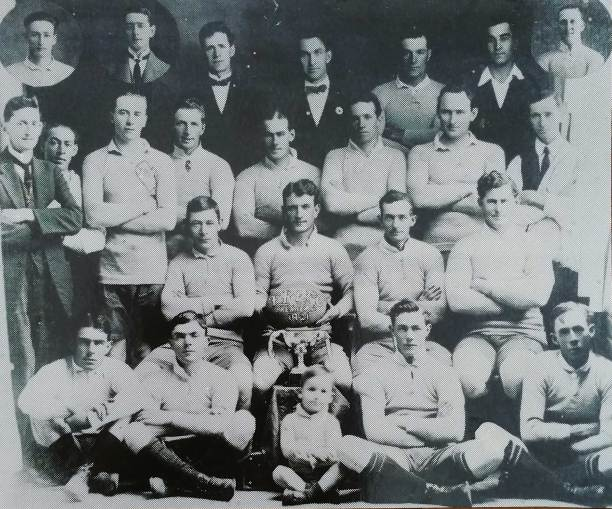 Ted Maher (second from right in second back row) in a Tumut team of 1921