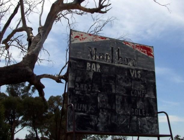 The scoreboard at Barmedman's ghostly ground in 2014. Source: Neil Pollock